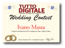 L'attestato di vincita Wedding Contest 2012 -  sezione video